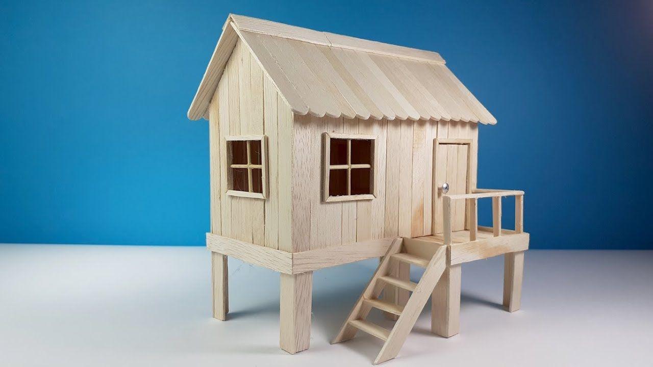 Wow Dari Stik Es Krim Jadi Miniatur Rumah Panggung Kerajinan