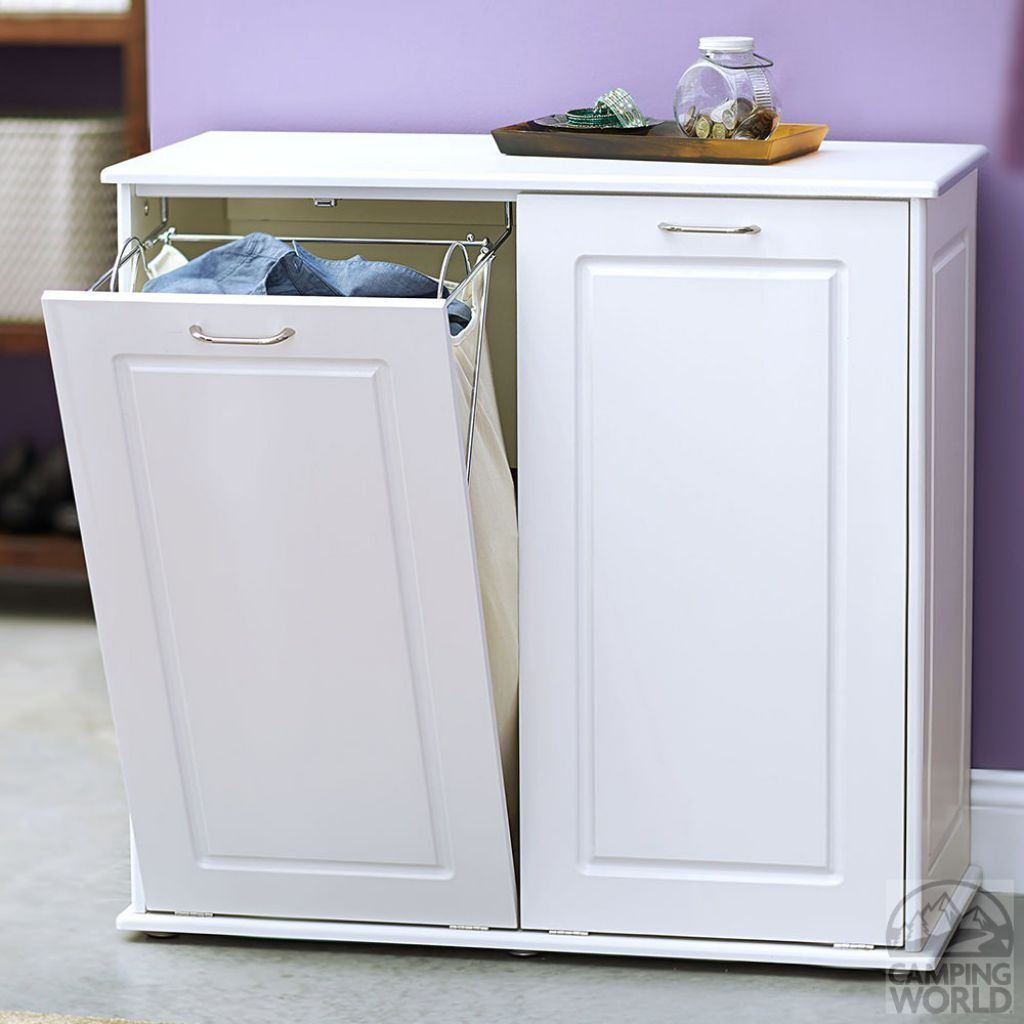 Laundry Hamper Cabinet In White Color | Laundry hamper, Hamper and ...