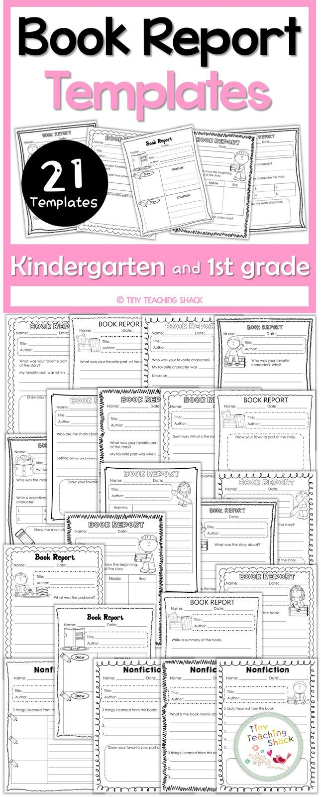Book Report Templates  First Grade Literacy    Book