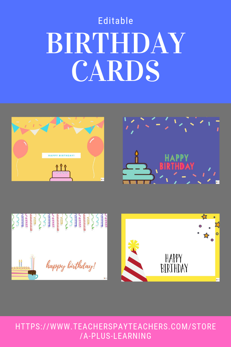Birthday Cards Templates Birthday Card Template Editable Birthday Cards Student Birthdays