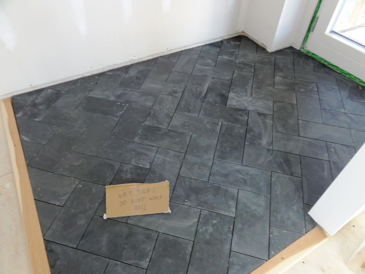 Slate Herringbone Tile Flooring fort Salonga Client Bathroom