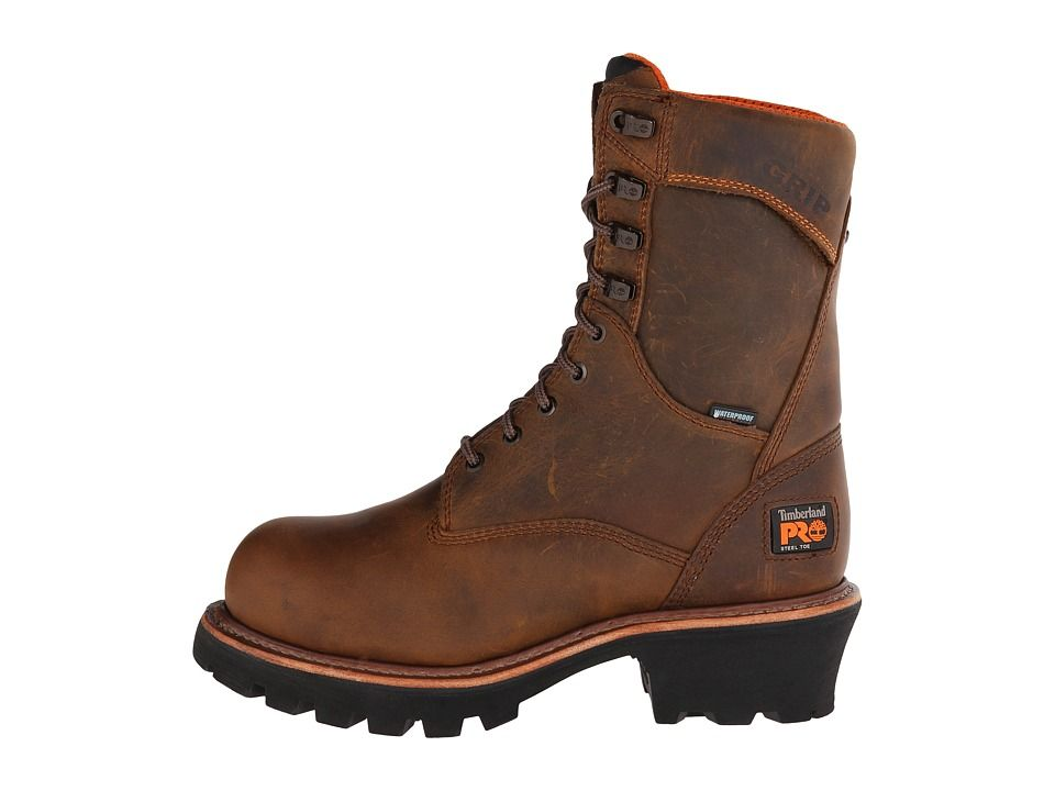 df14cb1582d Timberland PRO 9 Rip Saw Logger Steel Toe WP Men's Work Boots Brown ...
