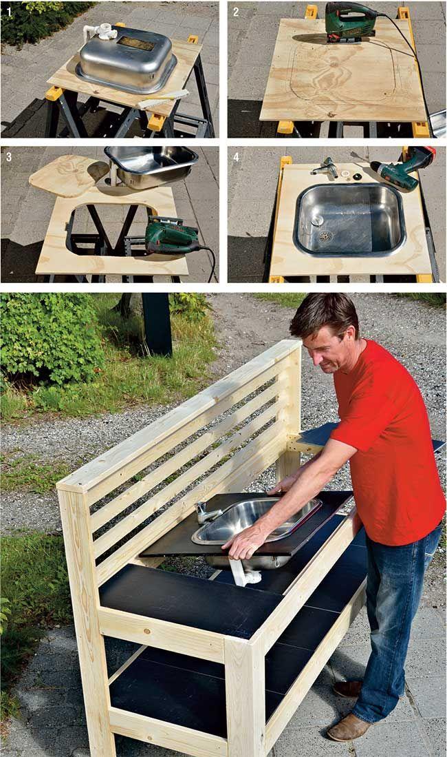 Tavolo da giardino fai da te con cucina. Outdoor kitchen table ...