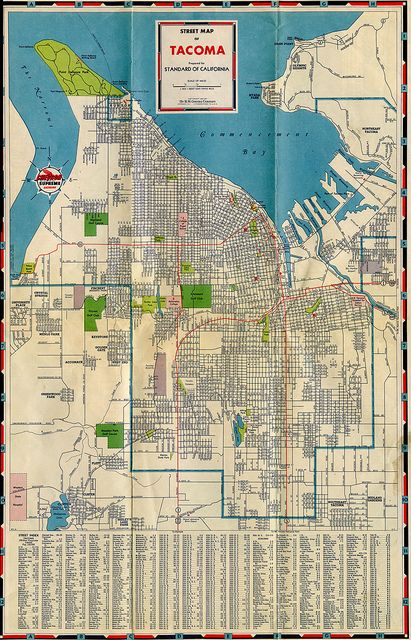 Tacoma Road Map, 1947 | Vintage Tacoma | Tacoma washington ...