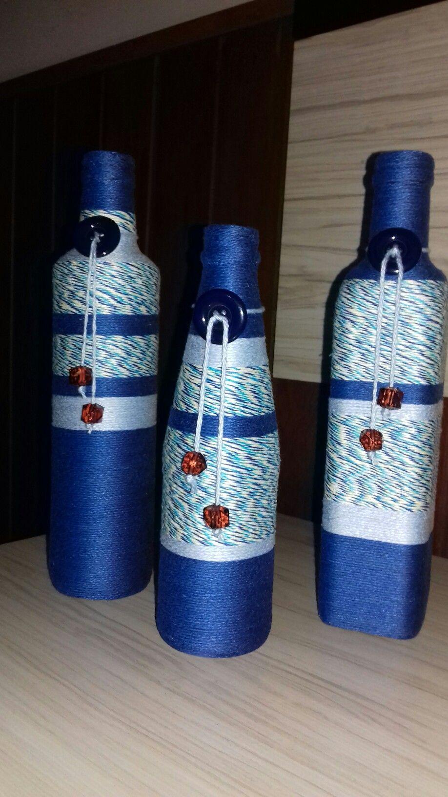 Decorated Bottles Garrafas decorada com barbante