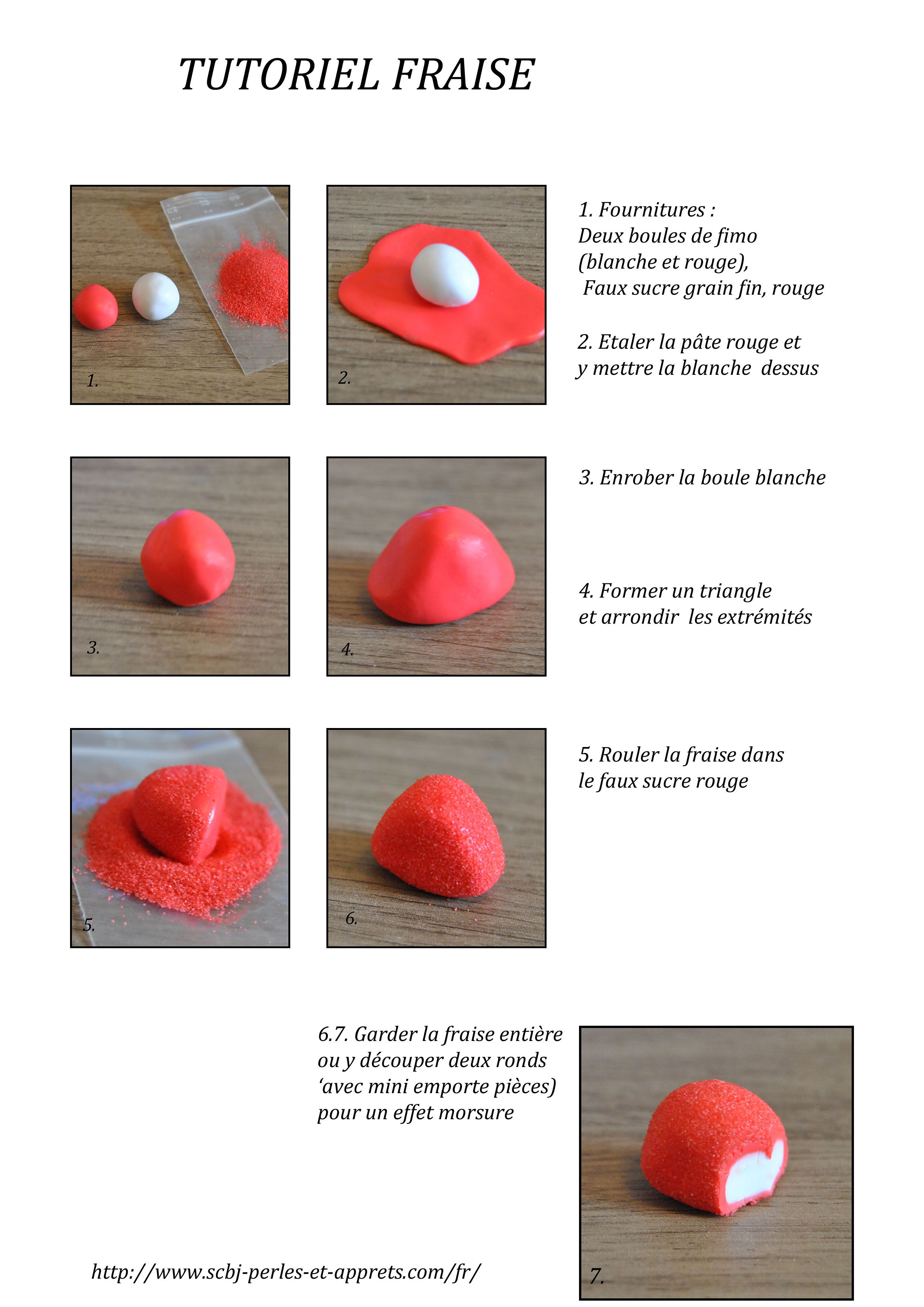 tutoriel fraise bonbon fimo ultra rapide et facile niveau d butant fimo pinterest. Black Bedroom Furniture Sets. Home Design Ideas