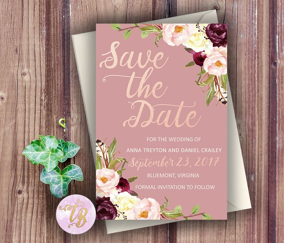26 Rustic Wedding Ideas That Still Feel Elevated: Marsala, Boho, Dusty Rose Save The Date