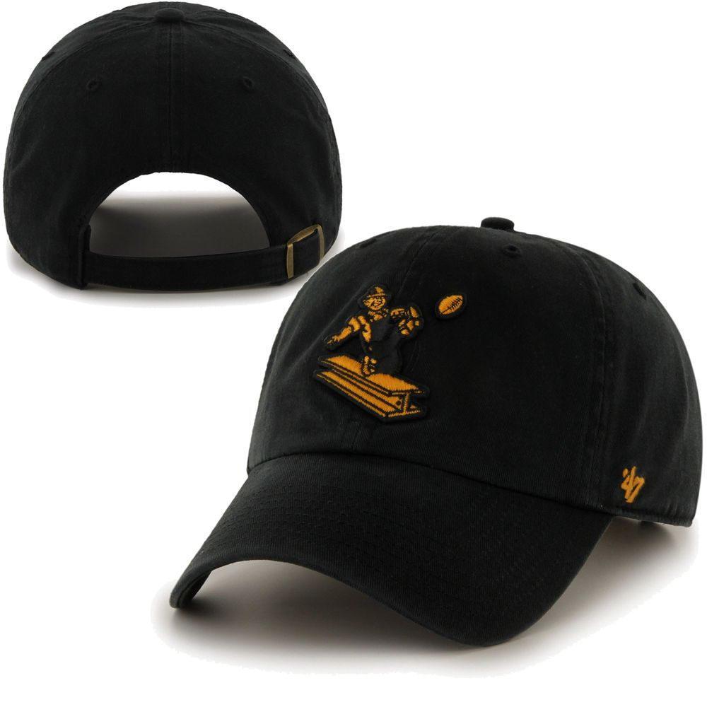 a8a44504045c9  47 Brand Pittsburgh Steelers Cleanup Throwback Mascot Adjustable Hat -  Black.