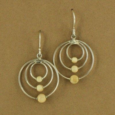 Sterling Silver Mammoth Tusk Bead Hoop Dangle Earrings $79.50 #jewelry