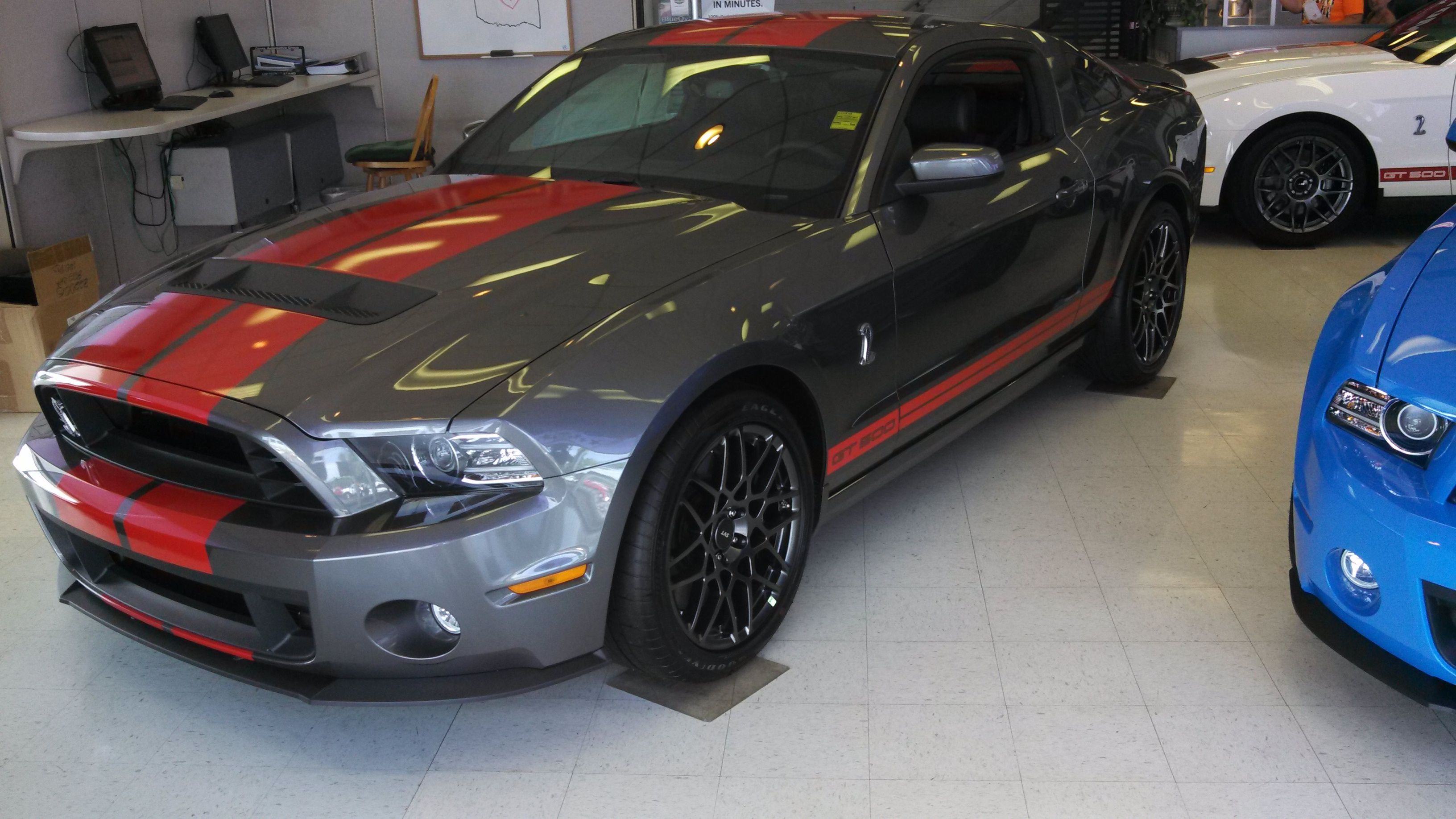 2014 ford mustang shelby gt 500 with a 5 8l v8 engine paired to a 2 3l super charger this beast is good for 662 horsepower and 631 lbs feet of torque