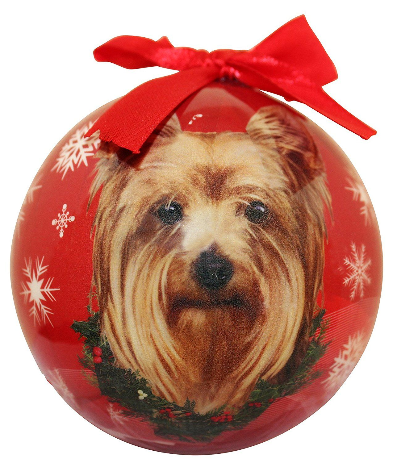 Yorkie Christmas Ornament Shatter Proof Ball Easy To Personalize A
