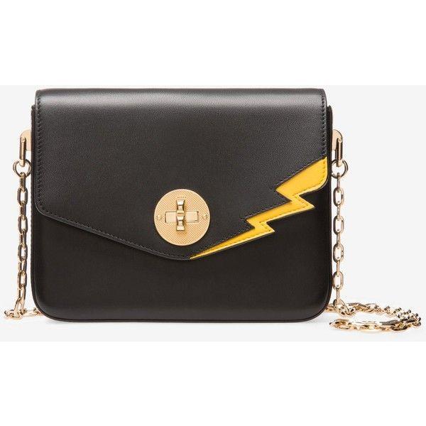 B Turn Minibag Black, Womens embossed calf leather shoulder bag in black Bally