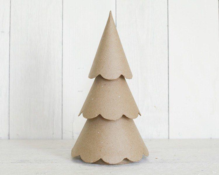 Paper Mache Christmas Tree Scalloped Cone Tree Paper Mache Christmas Creative Christmas Crafts Paper Christmas Tree