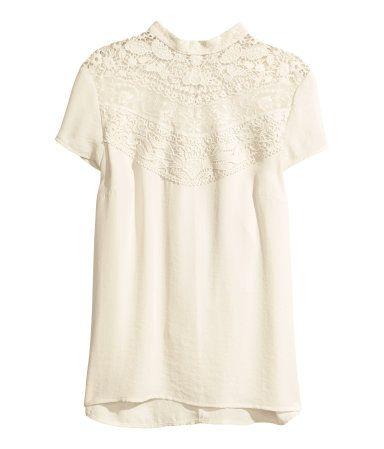 f6a7ed6c94027b Chiffon Lace Detail Blouse   H&M US    autumn    Fashion outfits ...