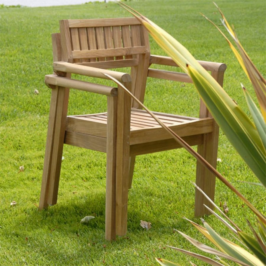 Teak Outdoor Patio modern Stacking Chair ... : contemporary stacking chairs - Cheerinfomania.Com