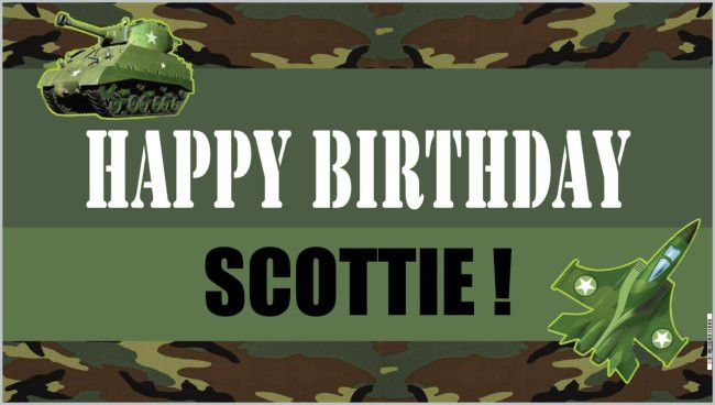 Personalized Birthday Banner Camouflage Army Personalized