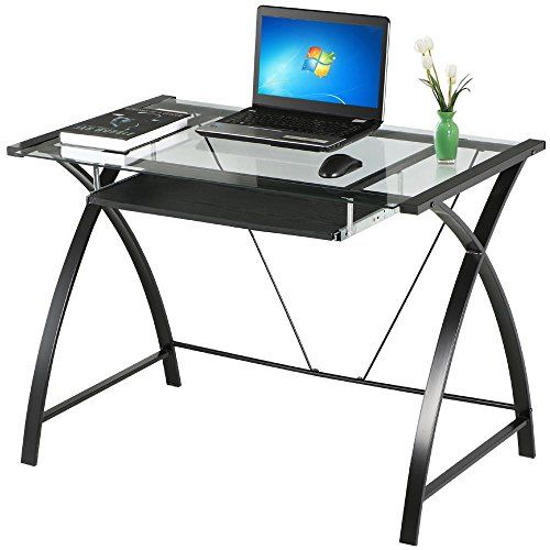 Go2buy Tempered Glass Table Top Computer Desk Black Metal Frame Leg Pull Out Keyboa Black Glass Computer Desk Glass Computer Desks Office Furniture Accessories