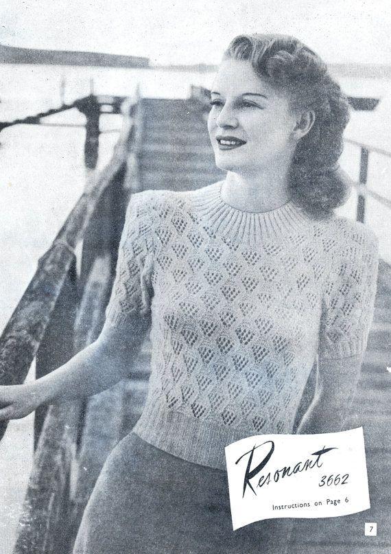 Vintage Knitting Patterns 1940s Fashion Womens Knits 8 Knitting
