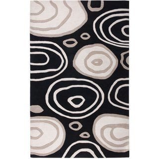 Hand Tufted Abstract Wool Black Rug 9 X 12 Black Rizzy Home White Area Rug Area Rugs Black Rug