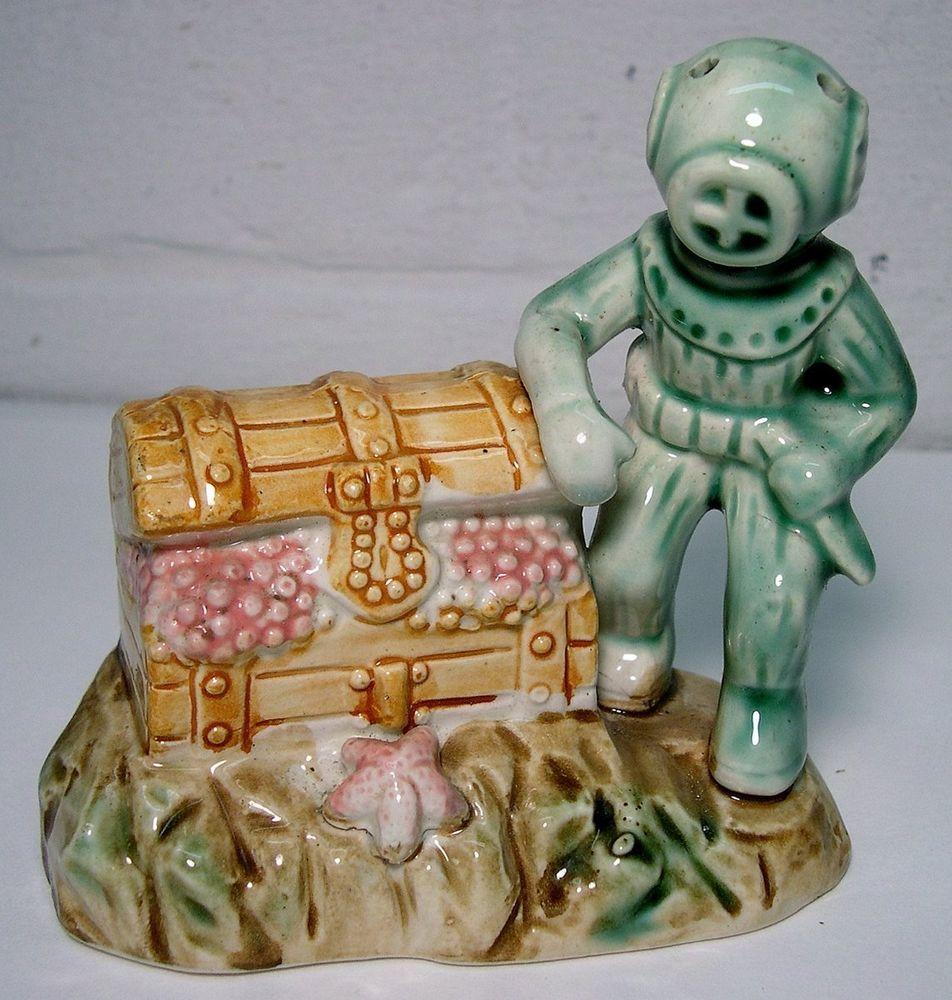 Treasure Chest Decorations Vintagedeep Sea Diver Treasure Chest Ceramic Aquarium Figurine