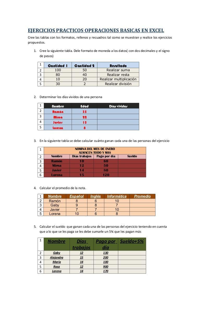EJERCICIOS PRACTICOS OPERACIONES BASICAS EN EXCELCree las tablas con ...