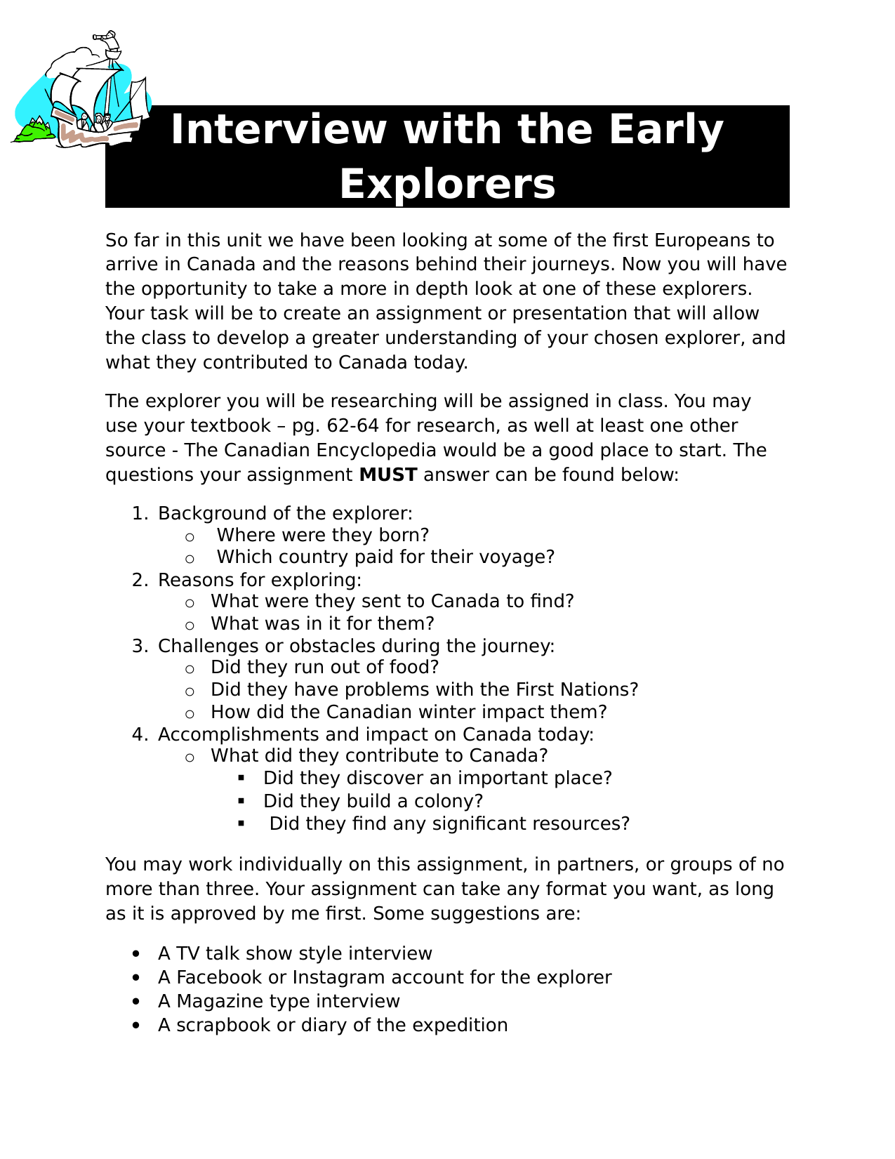 Interview With The Early Explorers Assignment Resource