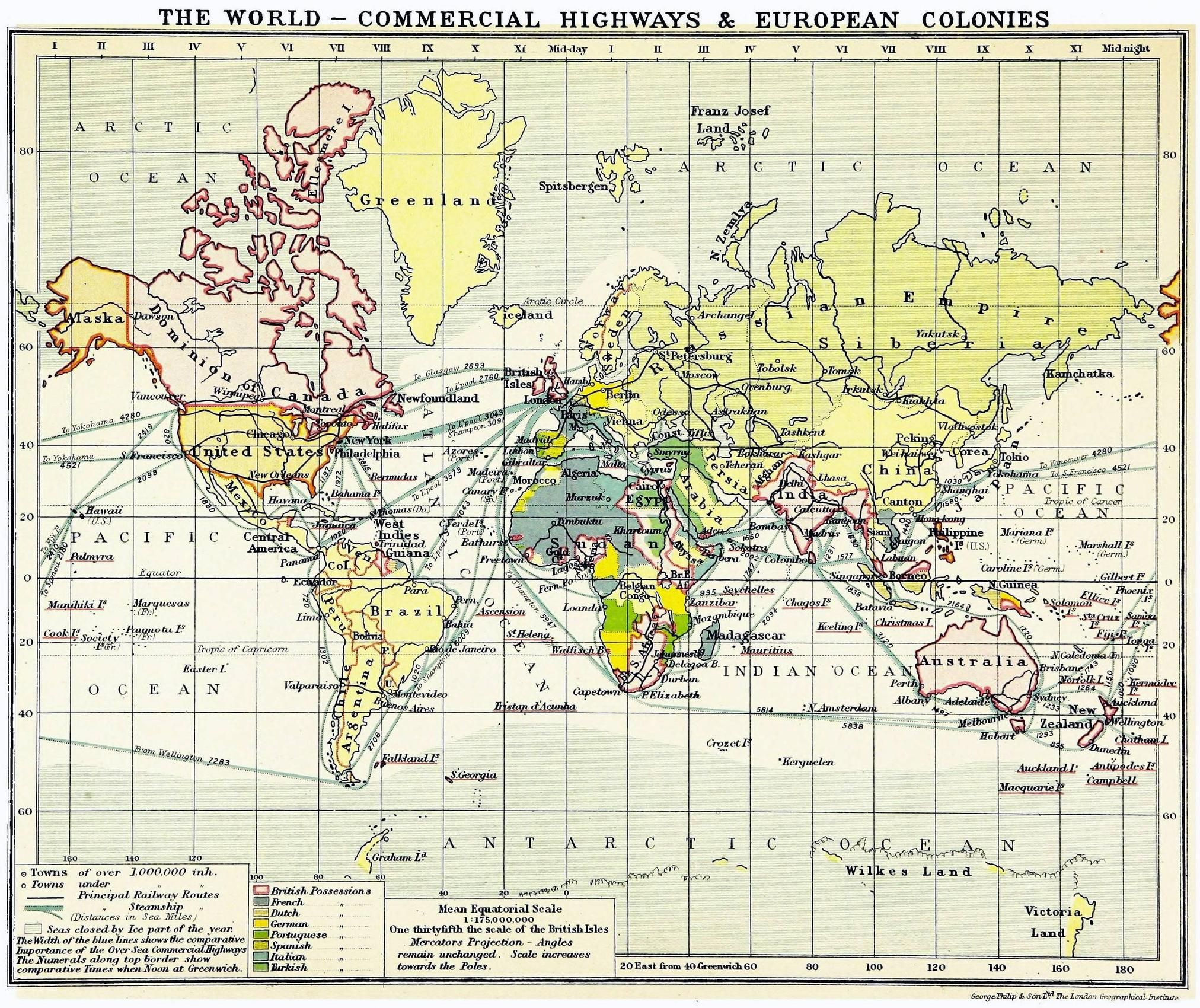 The World\'s Commercial Highways & European Colonies, 1913 #map ...