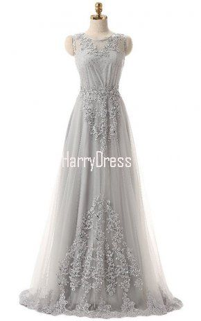 A Line Scoop Neck Tulle Floor Length Beading Silver Long Prom Dress