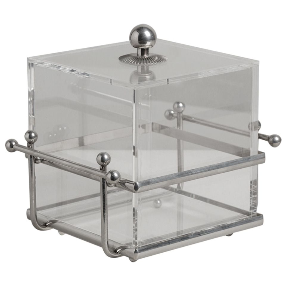 Nickel Plated Framed Lucite Ice Bucket, 1970s   From a unique collection of antique and modern wine coolers at https://www.1stdibs.com/furniture/more-furniture-collectibles/wine-coolers/