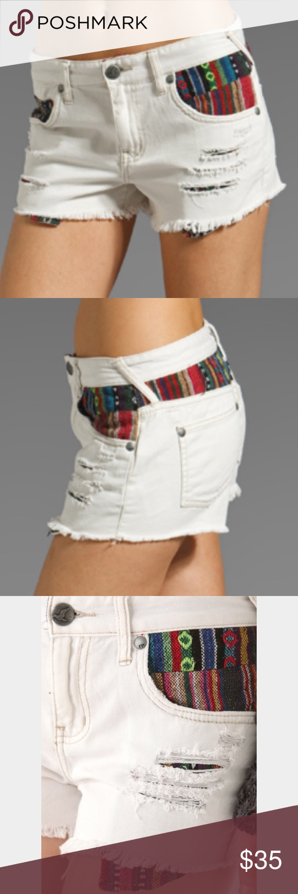 ❤️ NWT! Free People Baja Shorts  🆕🎉 NWT! Free People Baja Shorts in White. Perfect for summer.  Size 27, never been worn!!! SUPER CUTE! Bundle and Save 10%! 🥂 Free People Shorts Jean Shorts