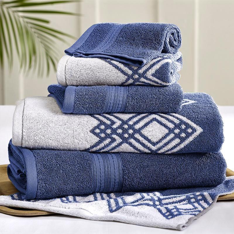 6pc Yarn Dyed Popcorn Diamond Towel Set Indigo Towel Bedding