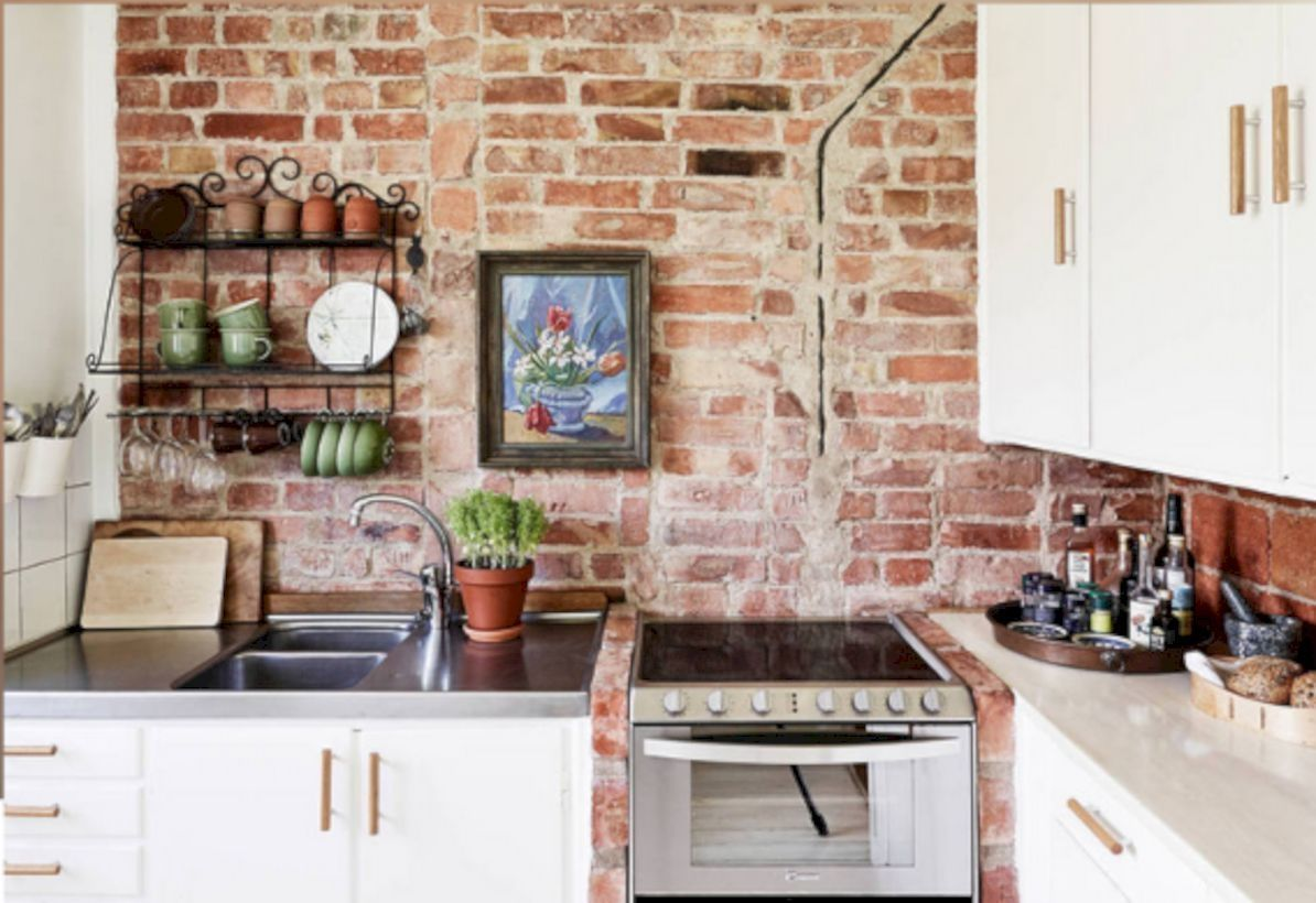 Cool 34 Classic Interior Wall Using Red Bricks Http Rengusuk Com Index Php 2018 08 20 34 Classic In Brick Wall Decor Brick Wall Kitchen Exposed Brick Kitchen
