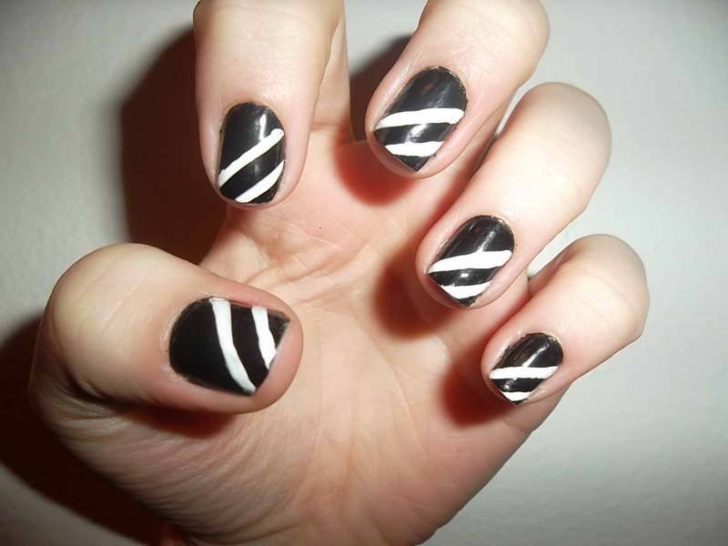 Black and White Nail Designs With White Lines | beauty | Pinterest ...
