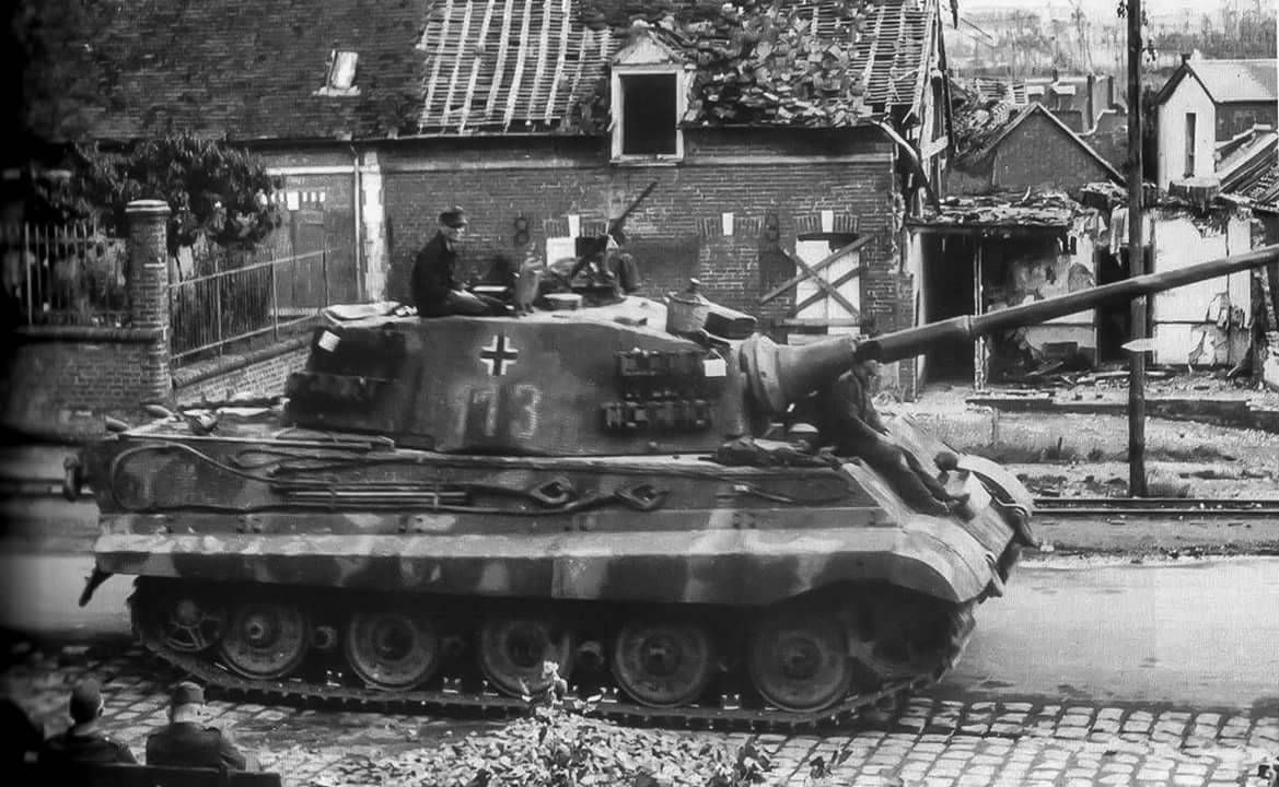 King Tiger Nr 113 Moving Through A Rural Village German Tiger