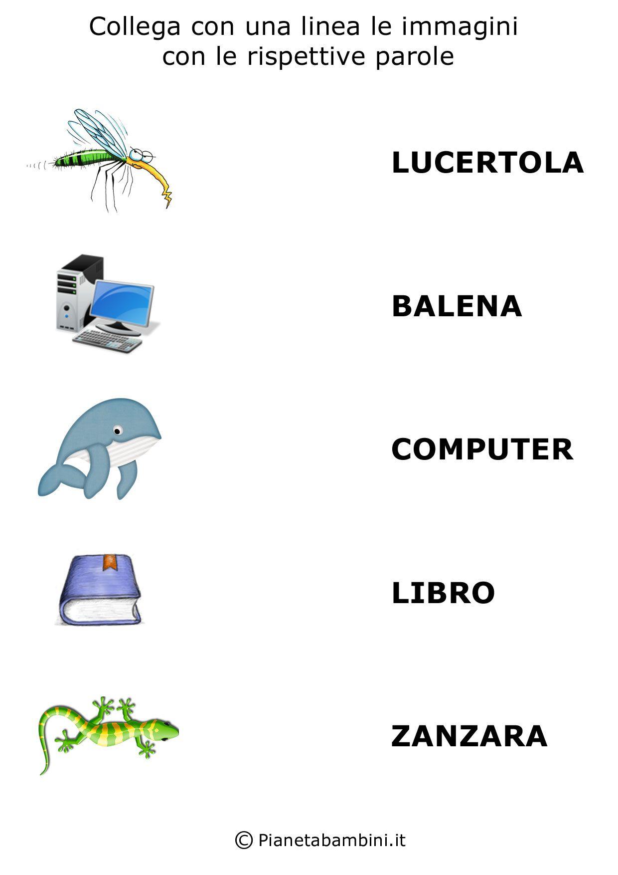 Collega Parole E Immagini Da Stampare Per Bambini Stampe Per Bambini Attivita Di Lettura Comprensione Della Lettura