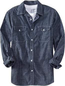 7256063208 Men s Regular-Fit Chambray Shirts