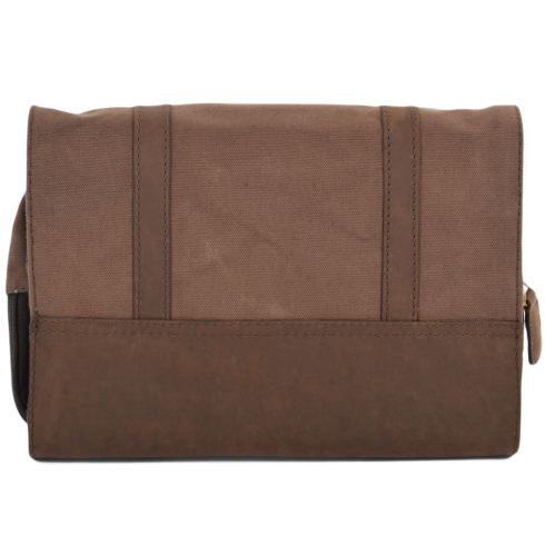 098aac64feb Ashwood Mens Leather   Canvas Hanging Toiletry Bag Mud mud   7010 ...