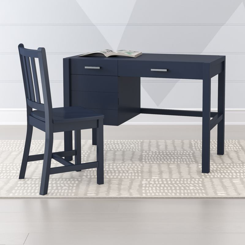 Shop Kids Uptown Navy Blue Desk The Uptown Desk Features Clean Crisp Lines For A Modern Look In Four Easy To Coordi Desk Blue Desk Restaurant Chairs For Sale