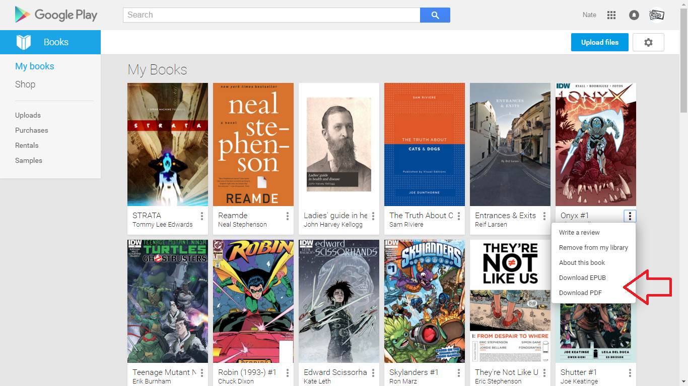 You can access and download ebooks from Google Play Books library on