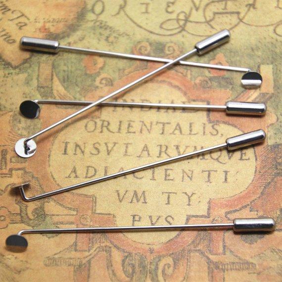 8pcs silver Lapel Pin Stick Pin Clutch 4x65mm With 5mm Pad