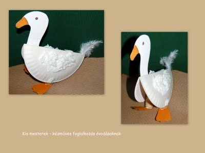 Goose using a paper plate for the body and paper other paper attachments for the feet, neck and head