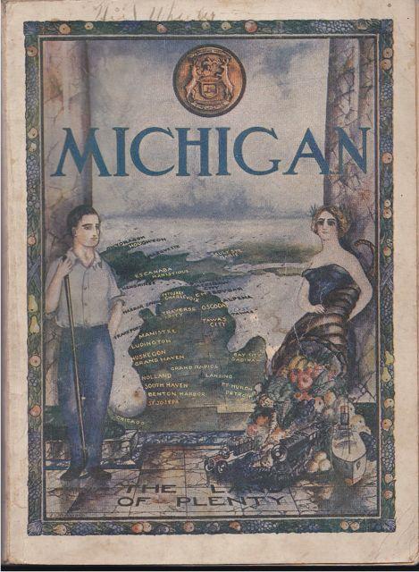 Michigan: The Land of Plenty Vintage Illustration