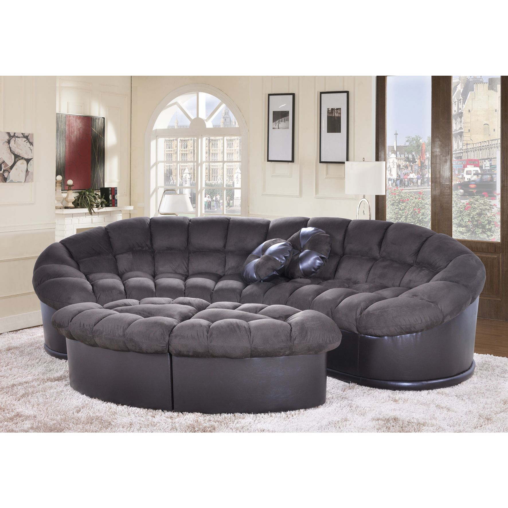 Diana 4 piece Chocolate Papasan Modern Microfiber Sofa and Ottoman