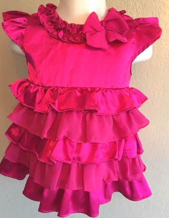6f83993e3 Toddler Baby Dress Bright Pink Frilly Ruffles 18 Mo Infant Satin ...