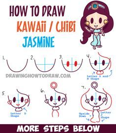 how to draw cute baby kawaii chibi jasmine from disneys aladdin in easy steps