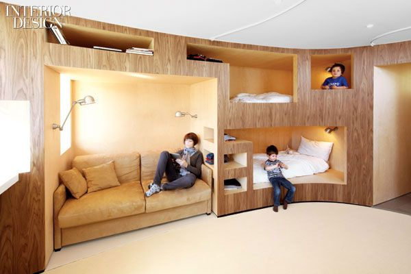 built into wall bed. Built-in Bunk Beds Become Part Of An Open Communal Space Defined By A Curving Wall Walnut Plywood. | Ollie\u0027s Room Pinterest Bed, Built Into Bed B