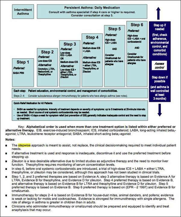 Image Stepwise Approach for Managing Asthma in Youths ≥12 Years - sample asthma action plan