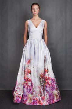 Flower Print Wedding Dress