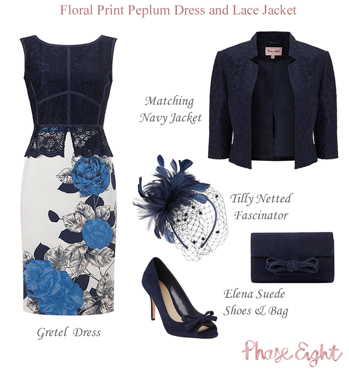 Phase Eight Blue Floral Print Dress Matching Navy Lace