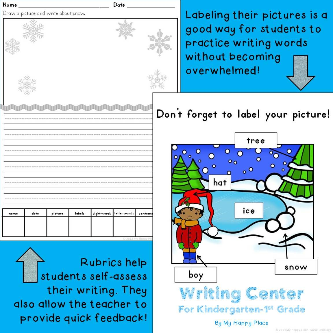 Winter Writing Center for kindergarten and first grade. Great for December and January--Christmas, New Year's, winter. Lots of printables! $  #kindergarten #firstgrade #literacy #writing #winterbreak #centers #christmas